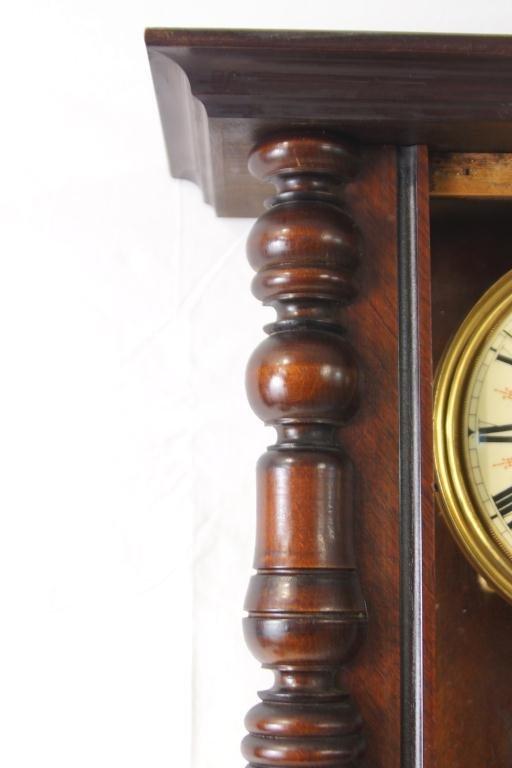 Antique Vienna regulator clock - Carved Mahogany Case - 6