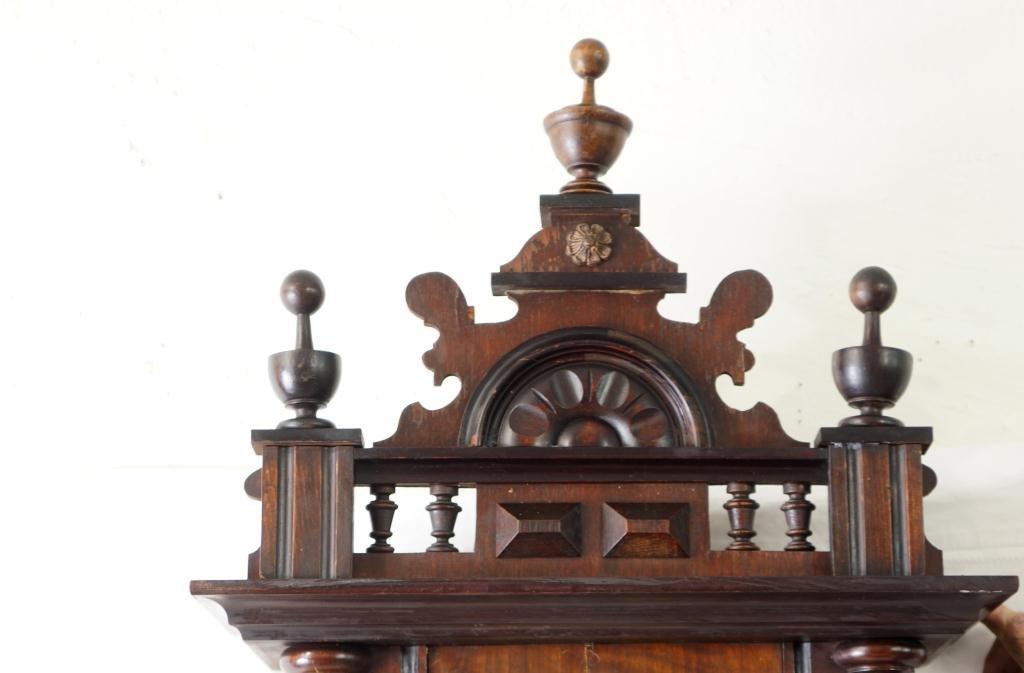 Antique Vienna regulator clock - Carved Mahogany Case - 7