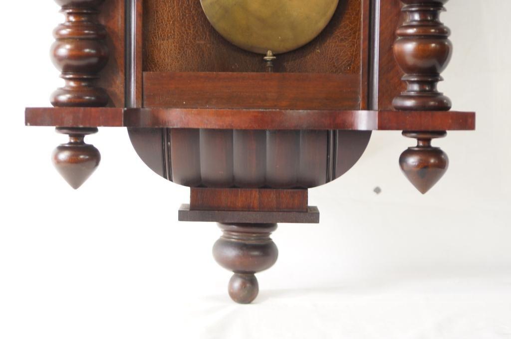 Antique Vienna regulator clock - Carved Mahogany Case - 8
