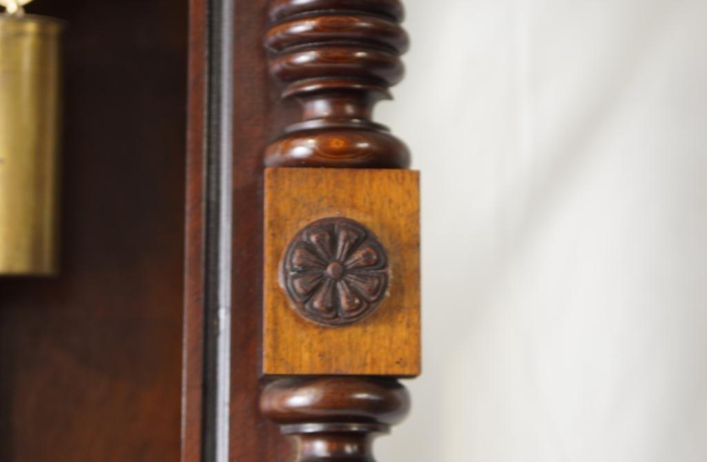 Antique Vienna regulator clock - Carved Mahogany Case - 9
