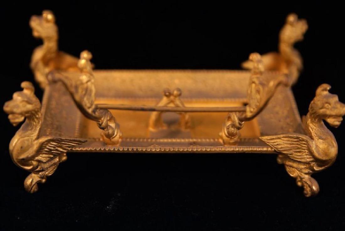 Dore bronze desk set with crystal inkwells - 10