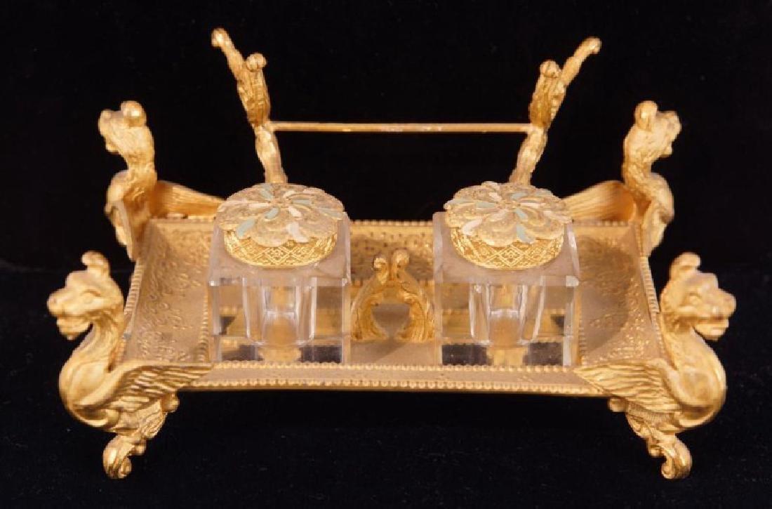 Dore bronze desk set with crystal inkwells