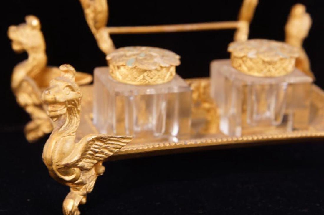 Dore bronze desk set with crystal inkwells - 4