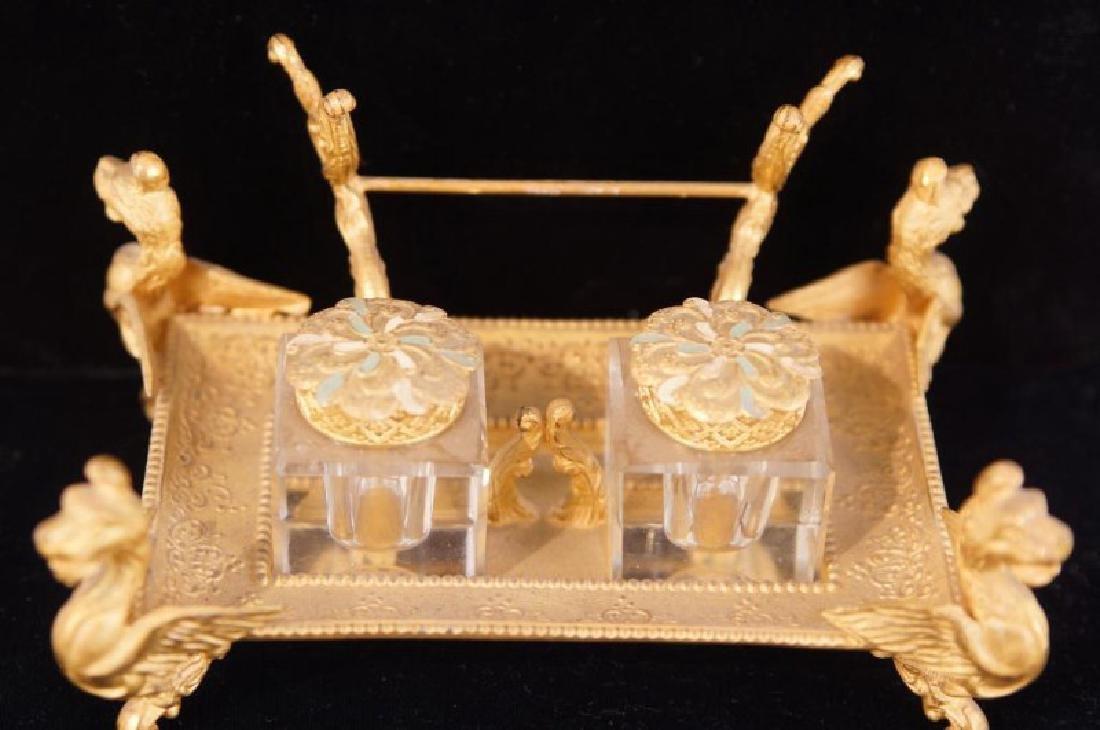 Dore bronze desk set with crystal inkwells - 5