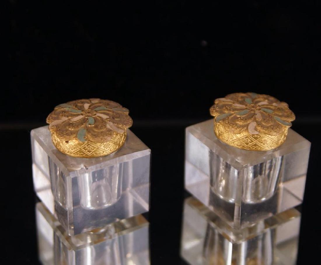 Dore bronze desk set with crystal inkwells - 7