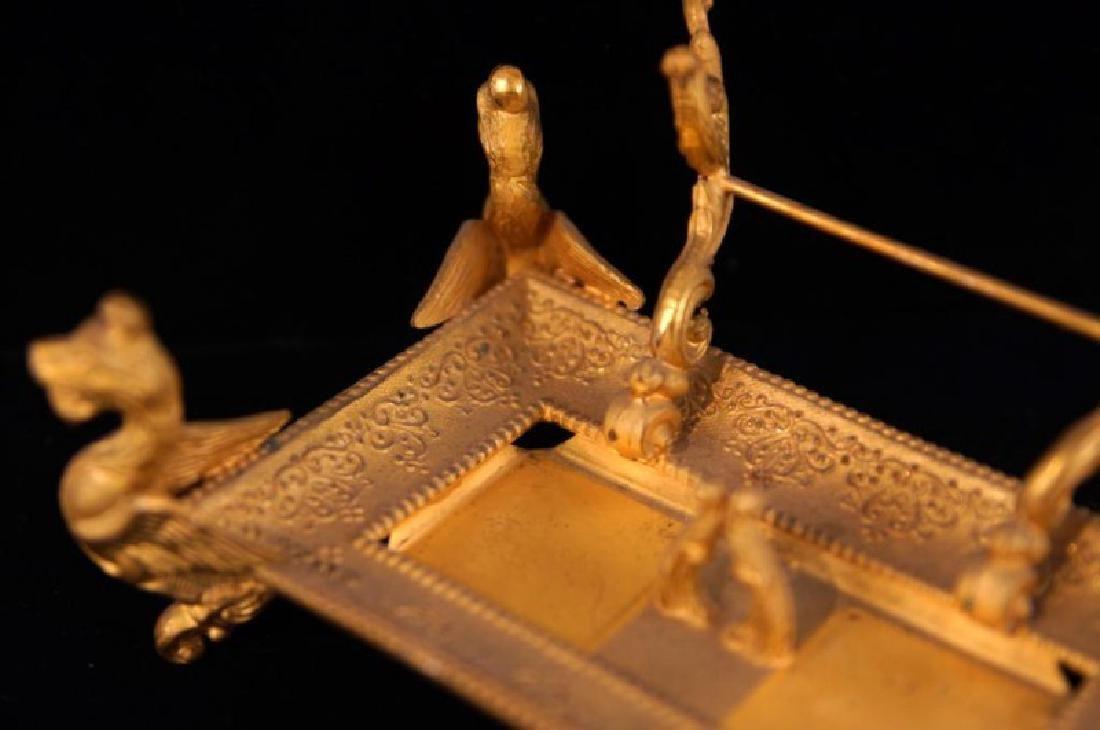 Dore bronze desk set with crystal inkwells - 9