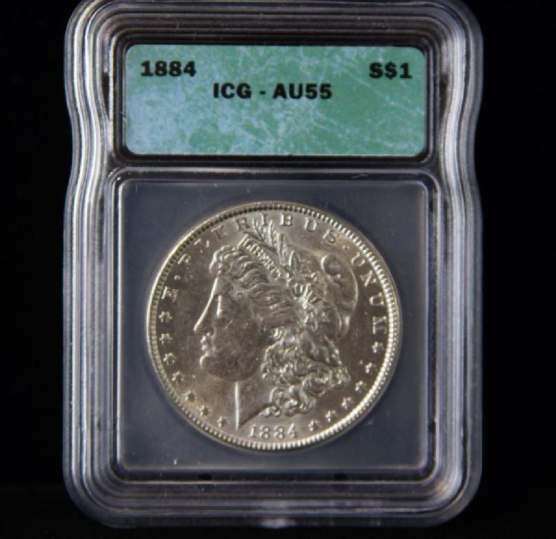 MORGAN SILVER DOLLAR  1884 AU 55