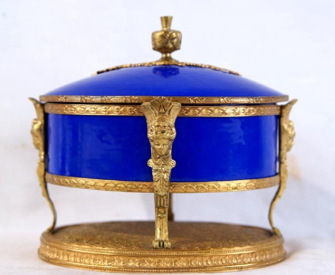 French Cobalt Porcelain & Bronze jewelry box