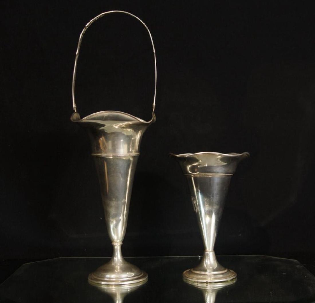 Sterling Silver trumpet vase & basket