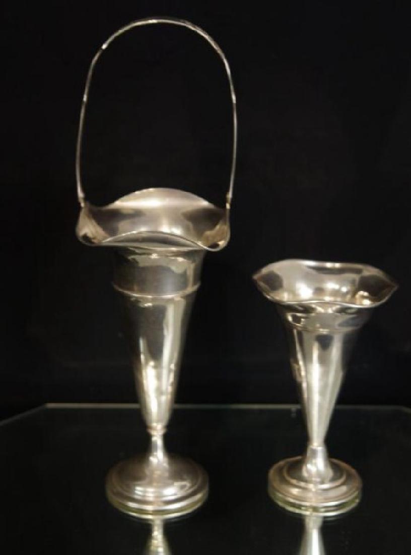 Sterling Silver trumpet vase & basket - 2