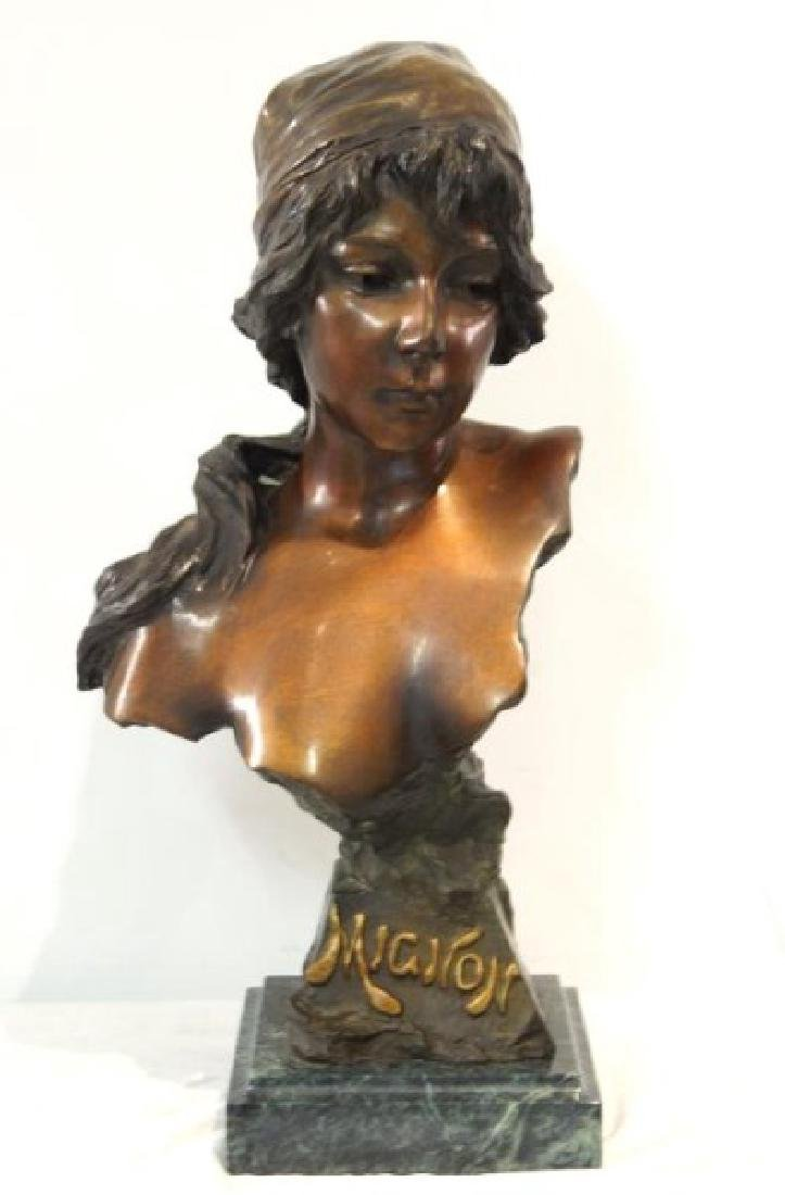 "Emmanuel Villanis (1858-1914) Bronze Bust 'Mignon"""