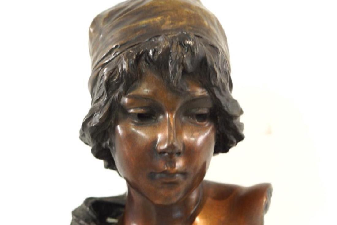 "Emmanuel Villanis (1858-1914) Bronze Bust 'Mignon"" - 2"