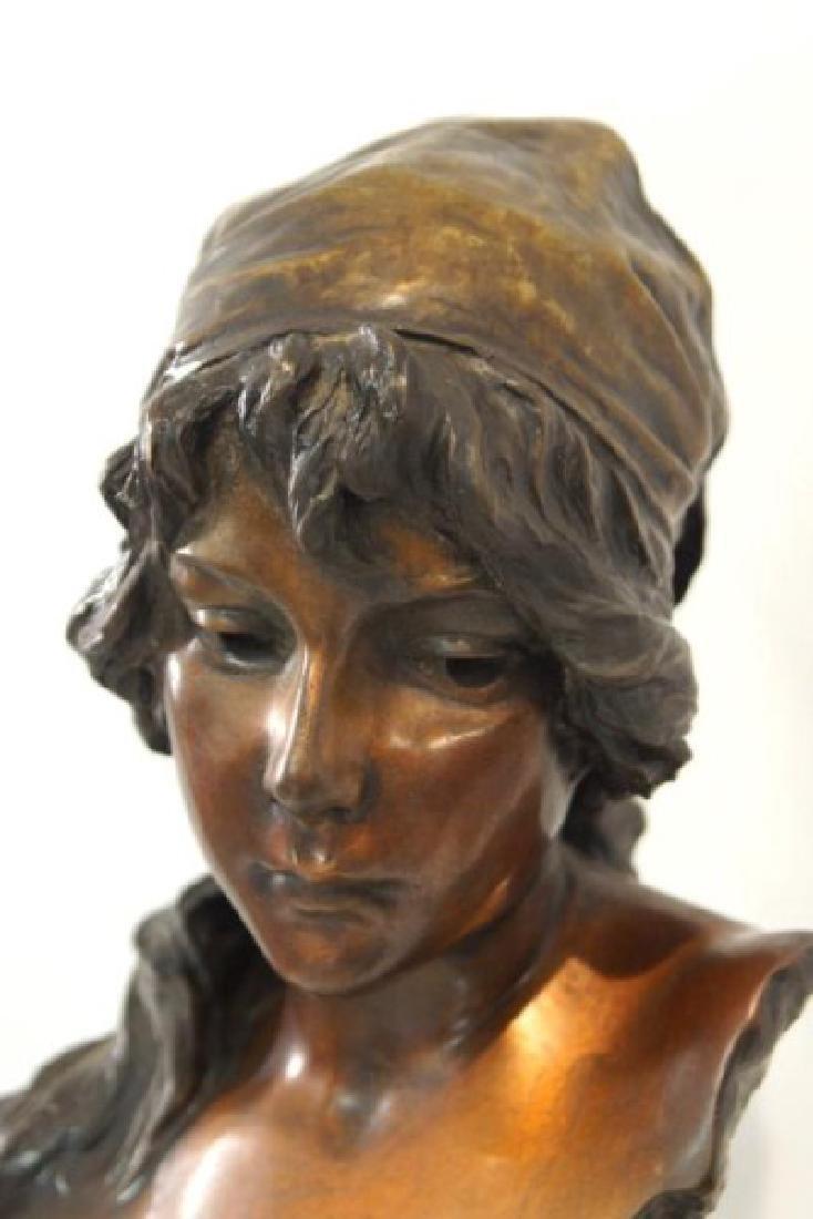 "Emmanuel Villanis (1858-1914) Bronze Bust 'Mignon"" - 3"
