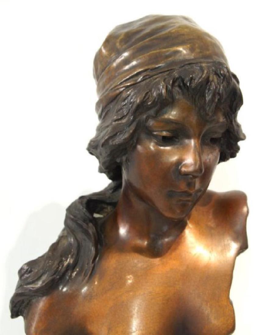 "Emmanuel Villanis (1858-1914) Bronze Bust 'Mignon"" - 4"