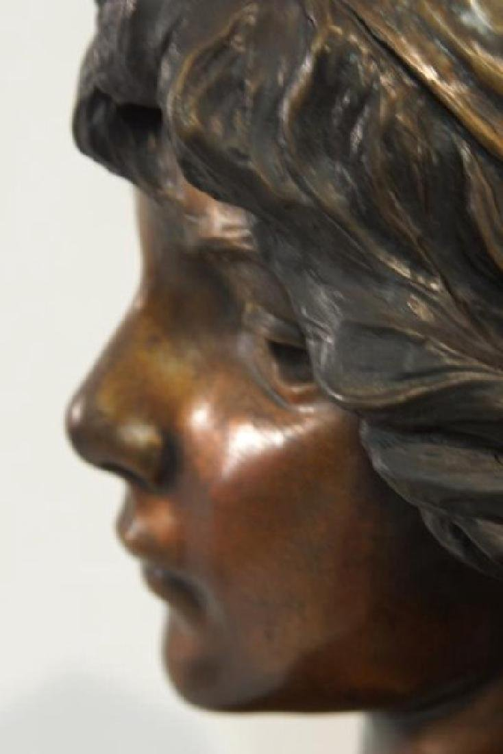 "Emmanuel Villanis (1858-1914) Bronze Bust 'Mignon"" - 7"