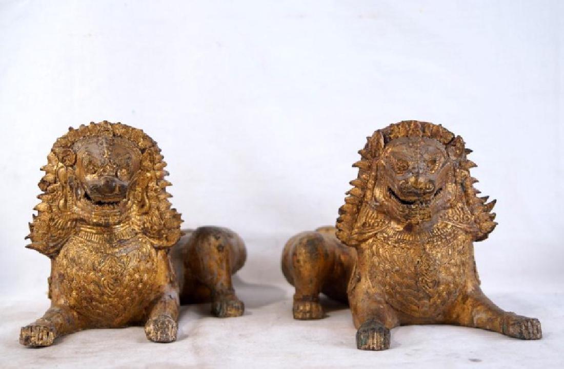Pair of Antique Bronze Thai Foo Dog Censers