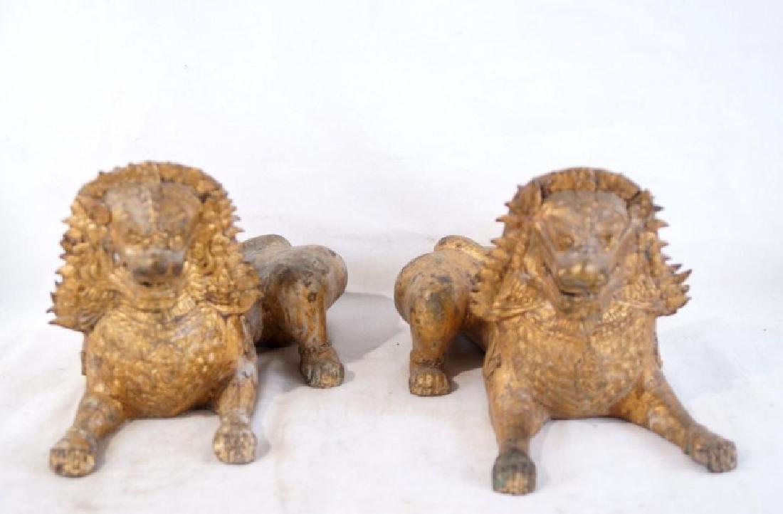 Pair of Antique Bronze Thai Foo Dog Censers - 2
