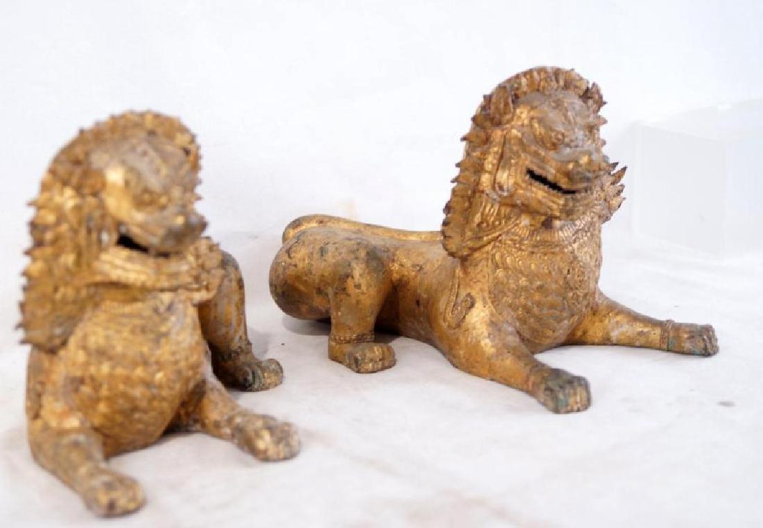 Pair of Antique Bronze Thai Foo Dog Censers - 3