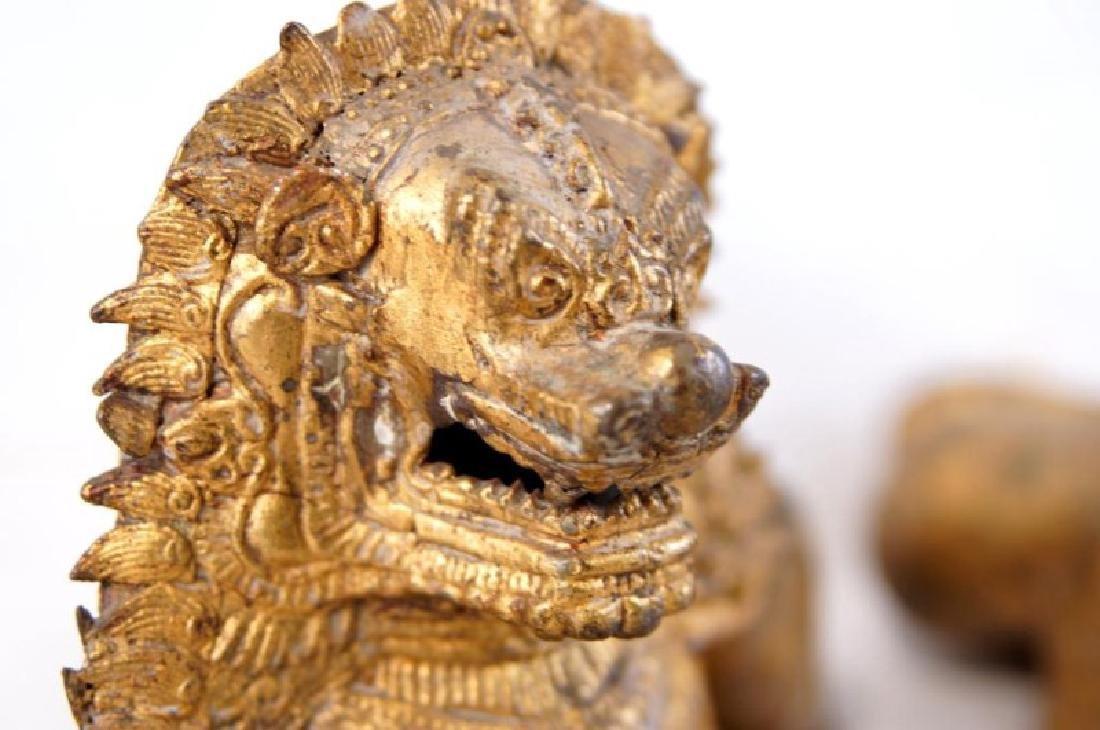 Pair of Antique Bronze Thai Foo Dog Censers - 4