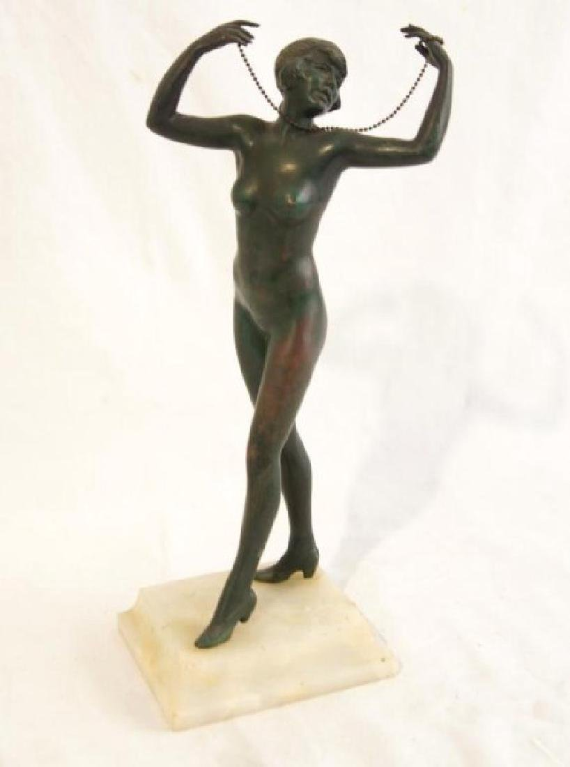 Art Deco nude bronze statue - 2