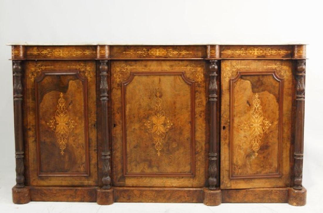 19th cent Marble top inlaid sideboard