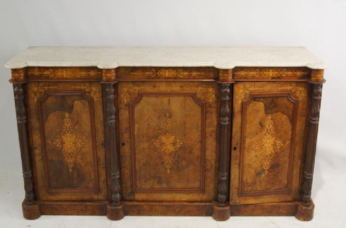 19th cent Marble top inlaid sideboard - 2