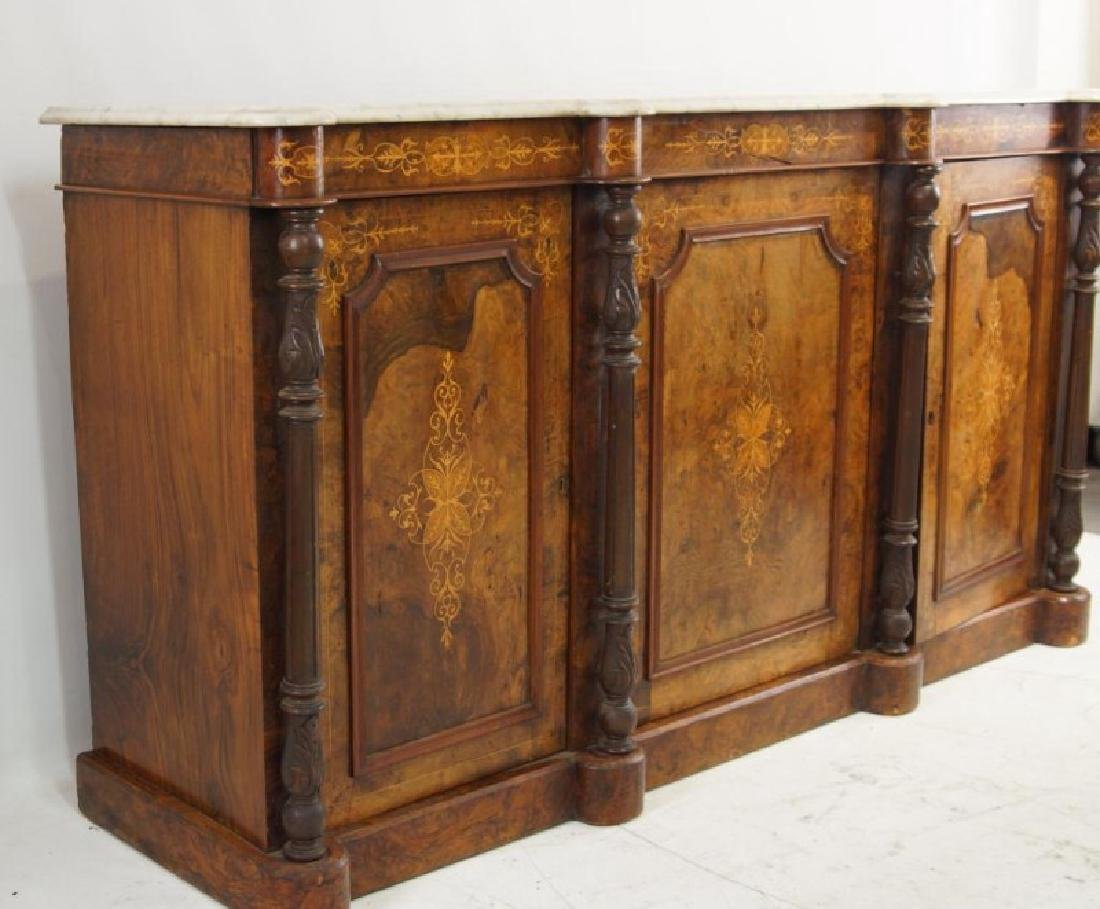 19th cent Marble top inlaid sideboard - 3