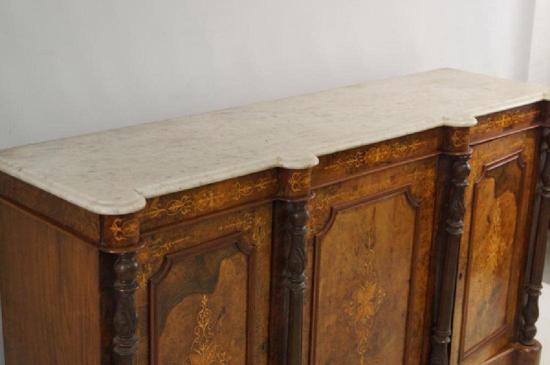 19th cent Marble top inlaid sideboard - 4