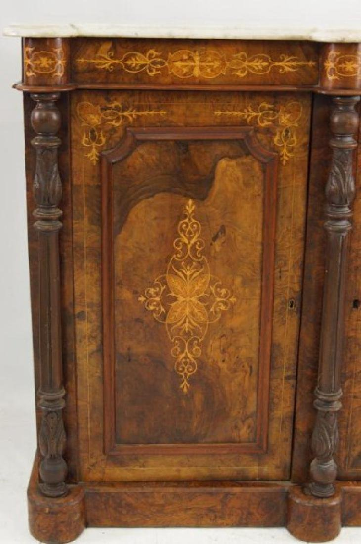 19th cent Marble top inlaid sideboard - 5