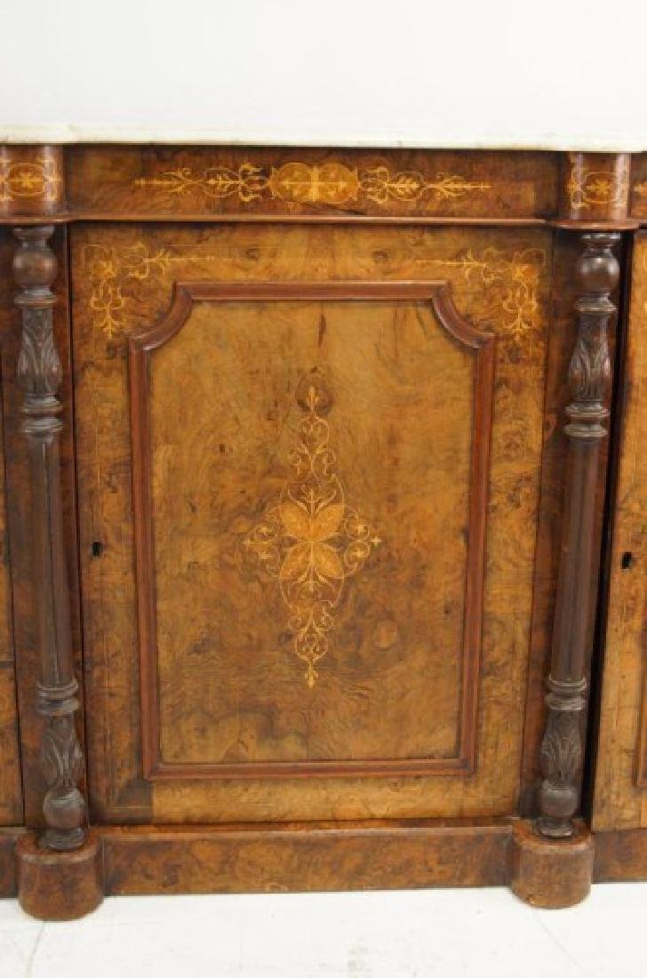 19th cent Marble top inlaid sideboard - 6