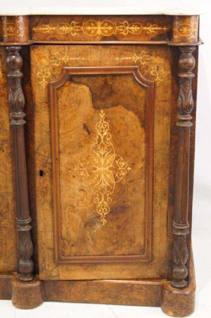 19th cent Marble top inlaid sideboard - 7