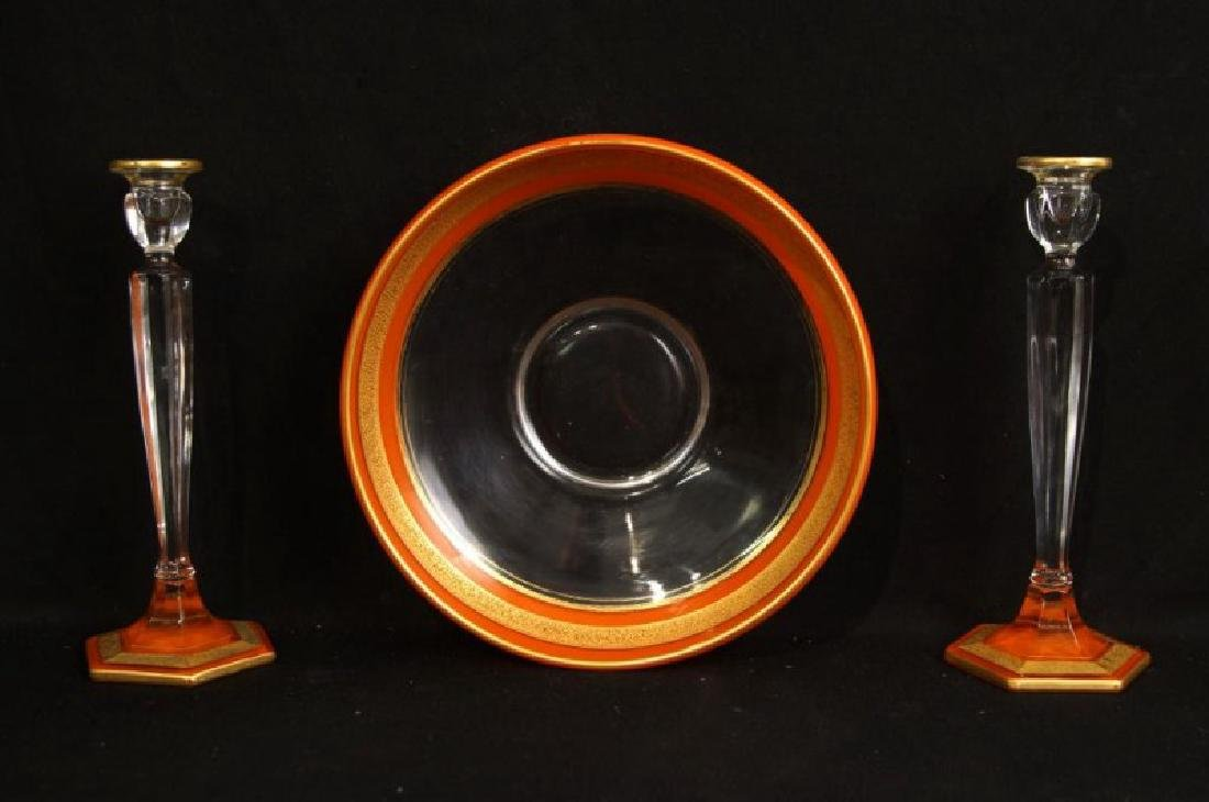 Antique French Art glass centerpiece set
