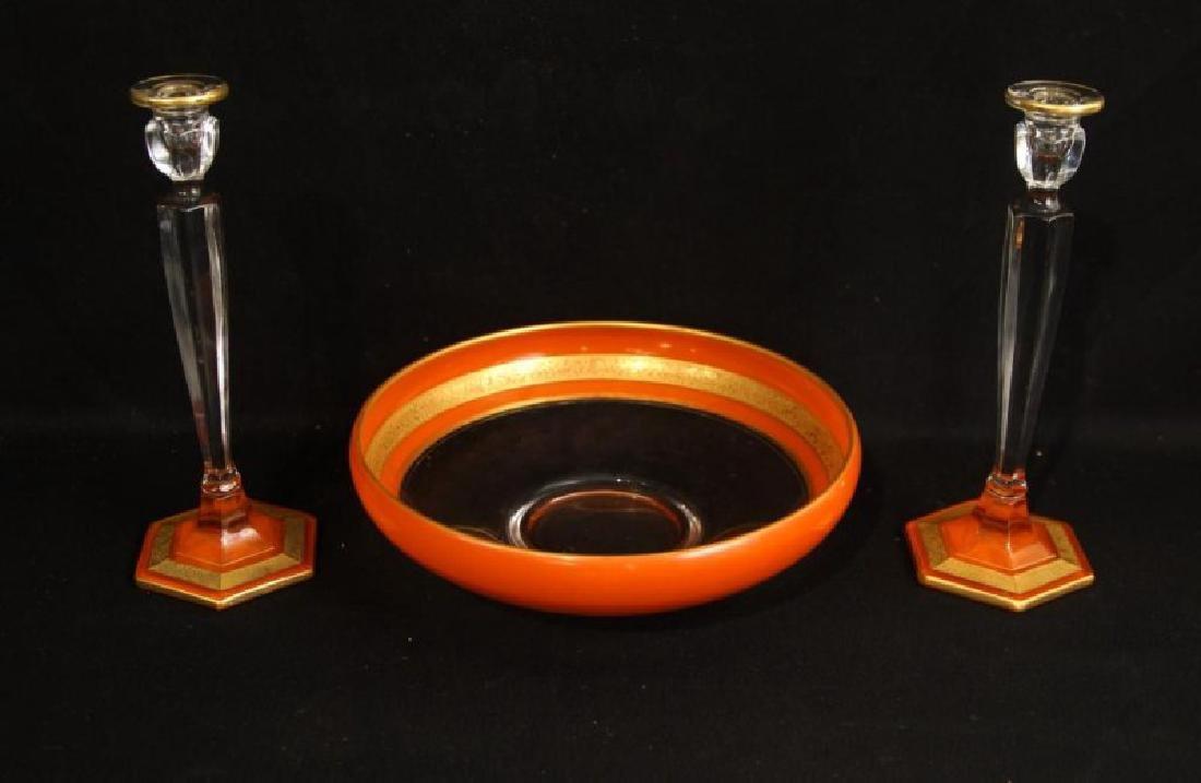 Antique French Art glass centerpiece set - 2