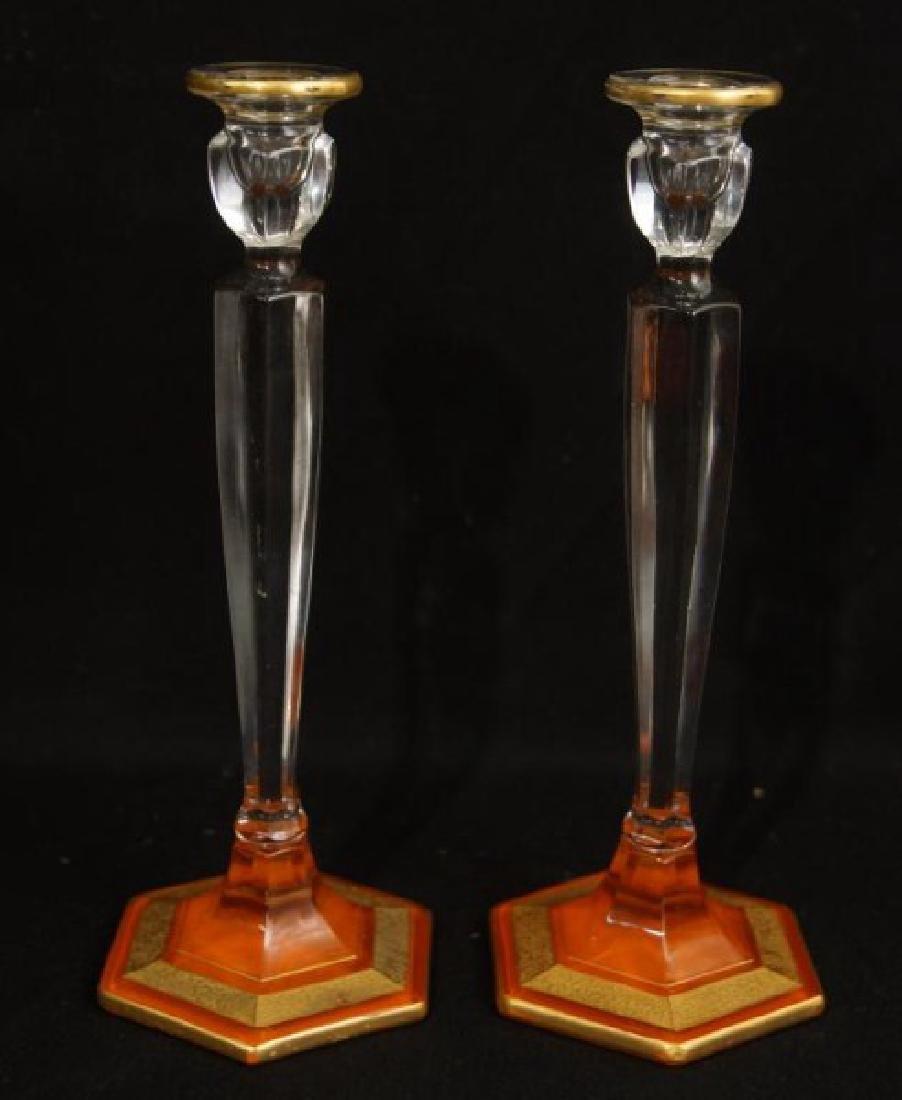 Antique French Art glass centerpiece set - 4