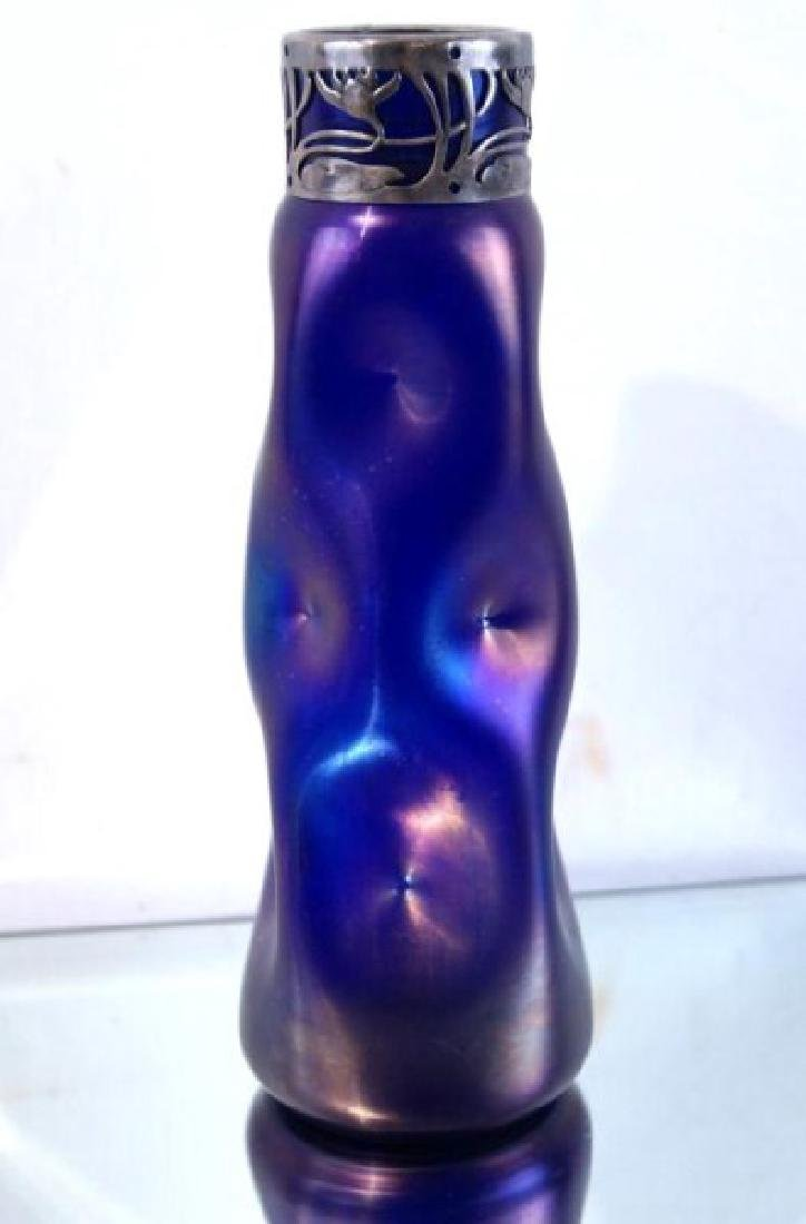 Art glass iridescent vase with sterling top