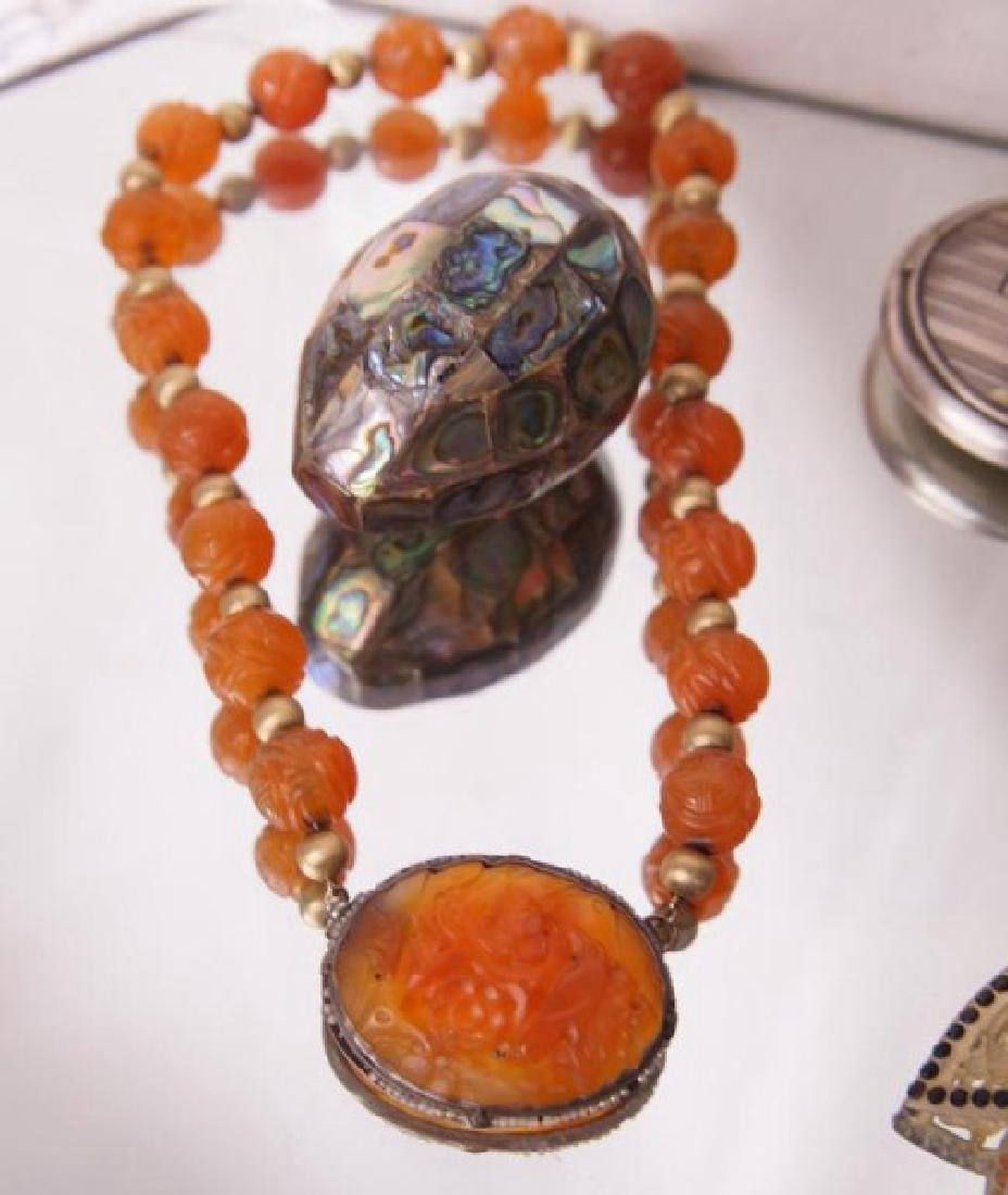 Filigree pendant snuffs, carved beaded necklace - 5