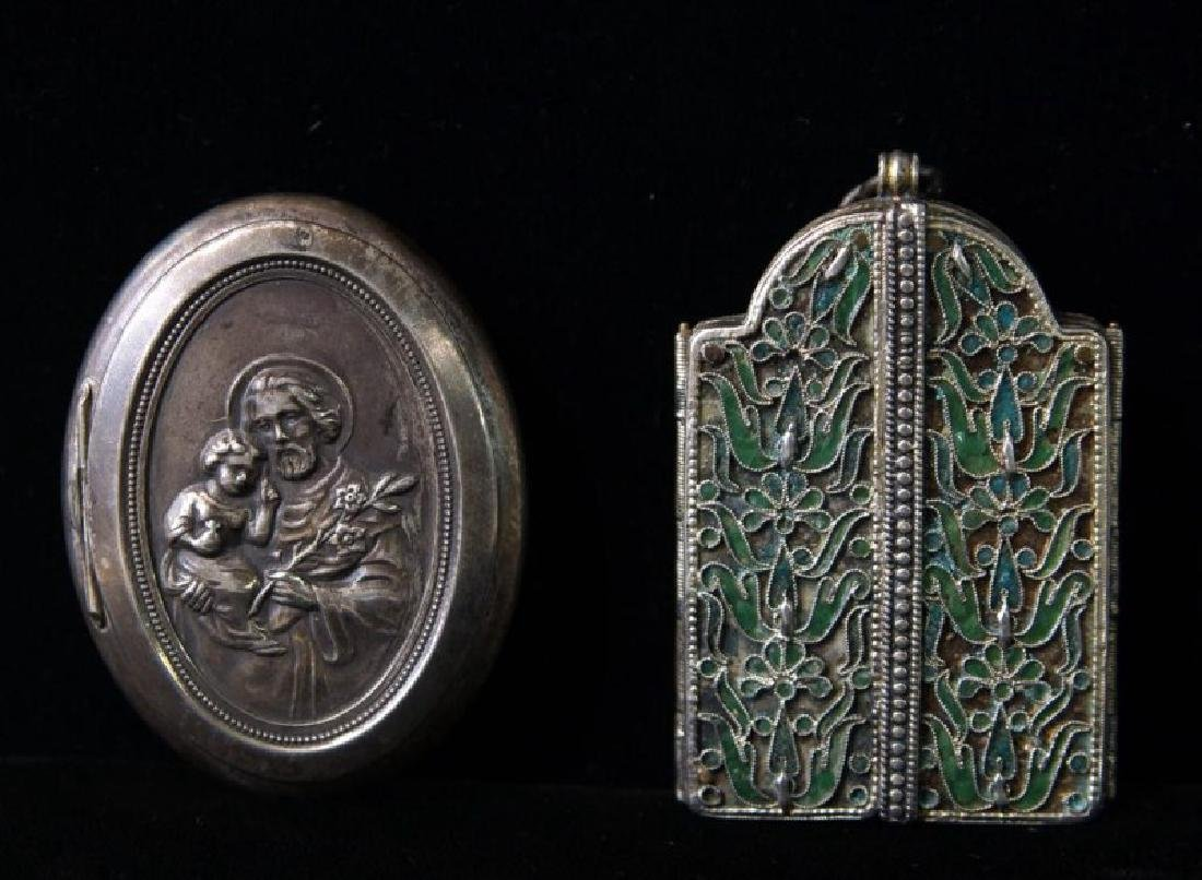 Religious subjects - Triptych and lidded oval case - 2