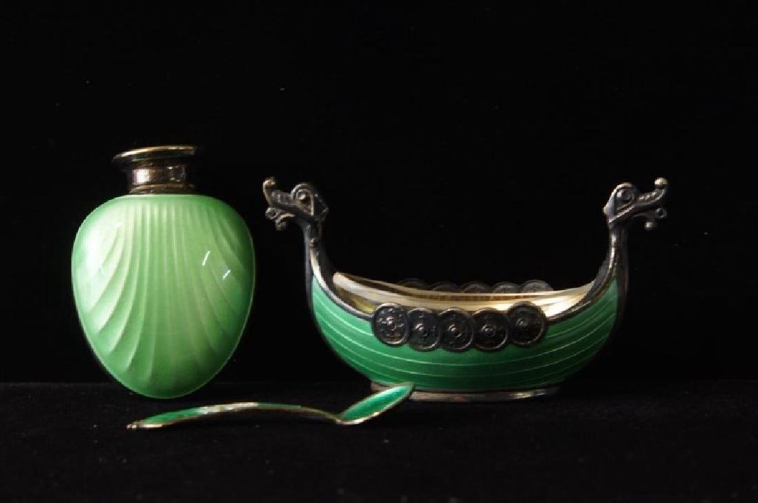 A Fine Enamel Norway Sterling Salt & Pepper - 2
