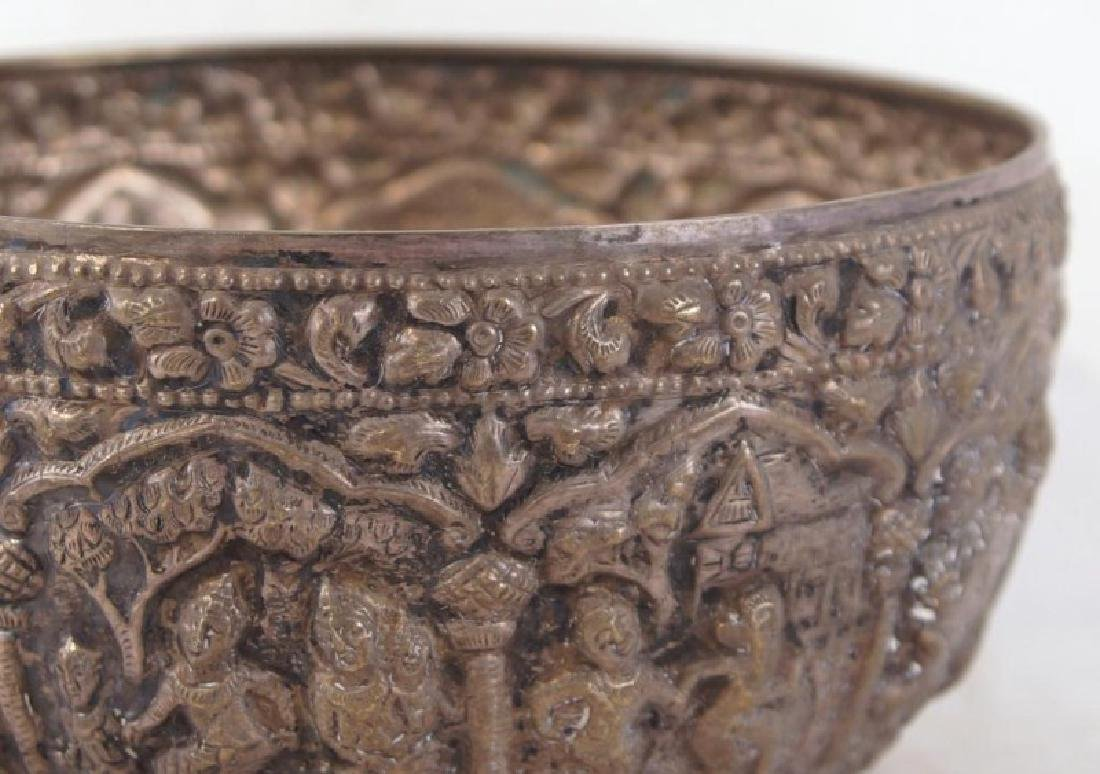 Silver bowl w figures - 3