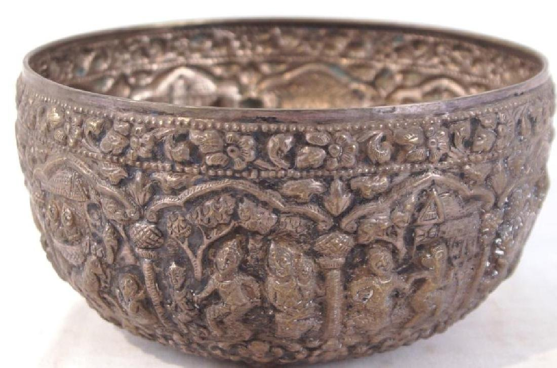 Silver bowl w figures - 4