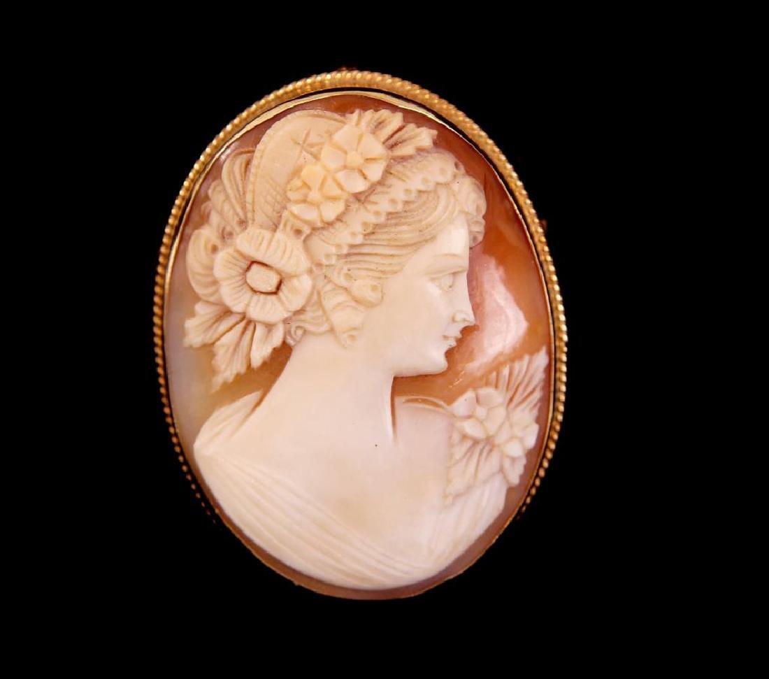 """14kt Gold """"Flora"""" cameo pin/pendant"""