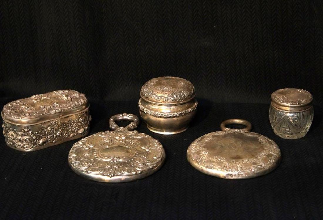 Antique Embossed Sterling dresser set