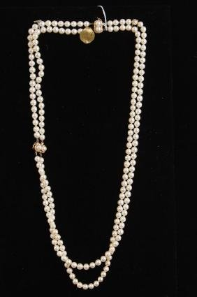 14kt Double Strand Pearl Necklace with bracelet