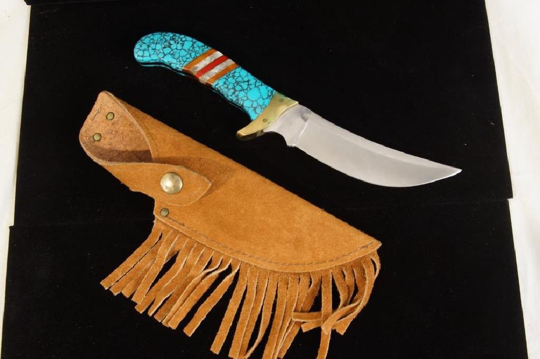 Crafted Turquoise Handle Knife with Leather Sheath
