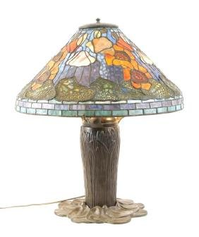 A Tiffany Style Stained Glass & Bronze Lamp