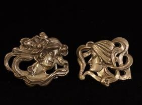 Unusual Art Nouveau sterling silver belt buckles