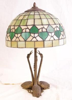 Antique Stained glass lamp w swans base