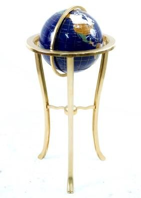 Lapis and inlaid stone globe on stand