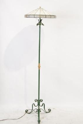 Wrought iron floor lamp w stained glass