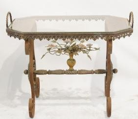 French Wrought iron Glass top table